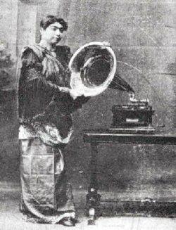Gauhar Jan with gramophone, c.1905