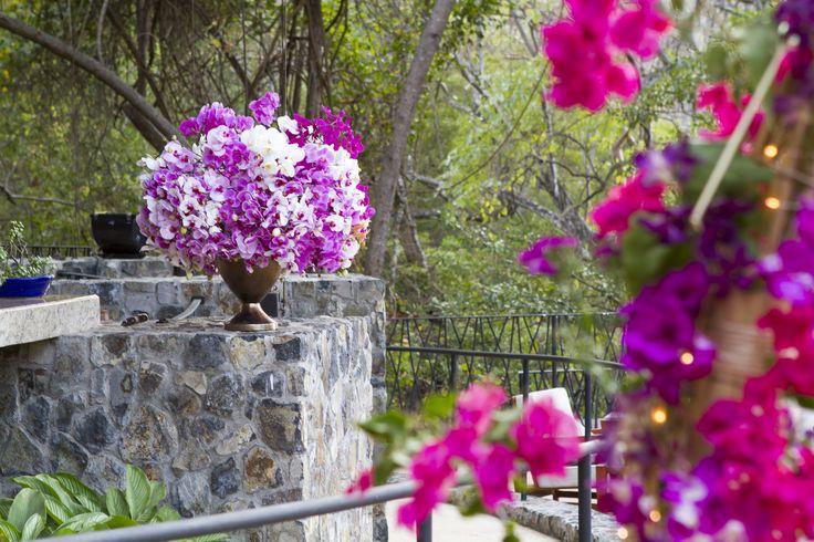 Flower arrangements at wedding reception