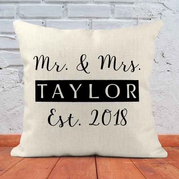 For Bedroom and Living Room Decor Mr and Mrs Christmas Present for the Couple Personalized Custom Throw Pillow Established Wedding Gifts