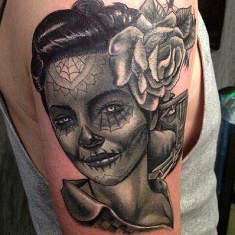 Dia de los muertos tattoo by big gus of tattoo nightmares for Is tattoo nightmares still on
