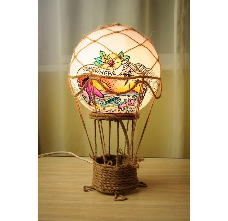Air balloon lamp, Designer lamp, Unique lamp, Decorative lamp, Modern lamp, Tropical lamp, Nursery lampshade, Kids room lamp, Bedroom lamp by WoodPresents on Etsy