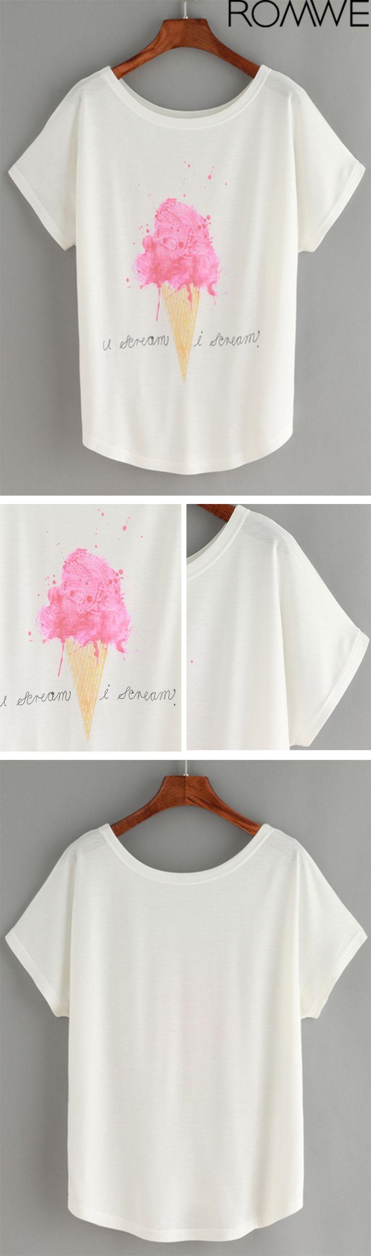 Ice Cream Print White T-shirt
