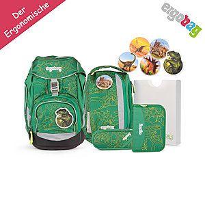 ergobag Schulrucksack pack-Set Grüner Dschungel DinosauriBär