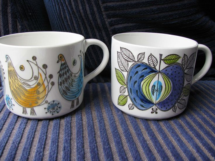 https://flic.kr/p/5Fx2TA | swedish cups | Eeeek! I said as I grabbed these up, there were 4 but another woman grabbed the other two at the same time. I looked up and she was one of my craft buddies so how could I be cross? Rorlfrand Swedish ceramics