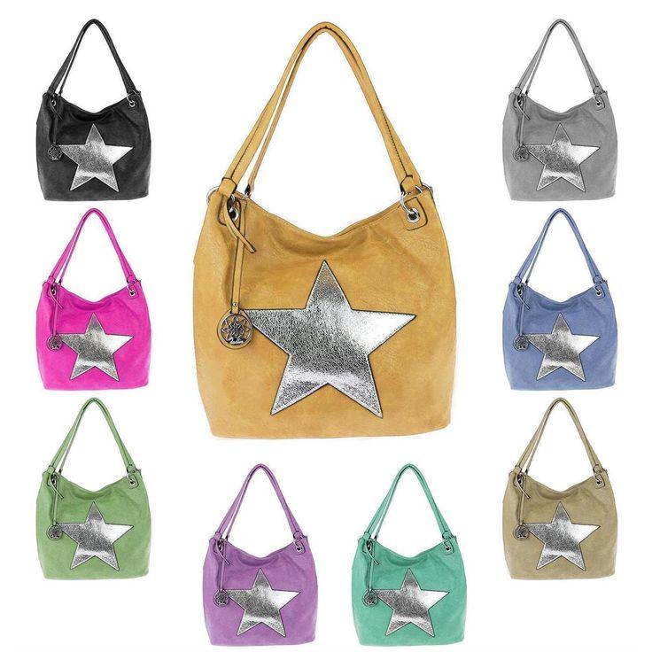 . ital-design Damen Stern Tasche Shopper Henkeltasche Handtasche Schultertasche Umhängetasche Gelb