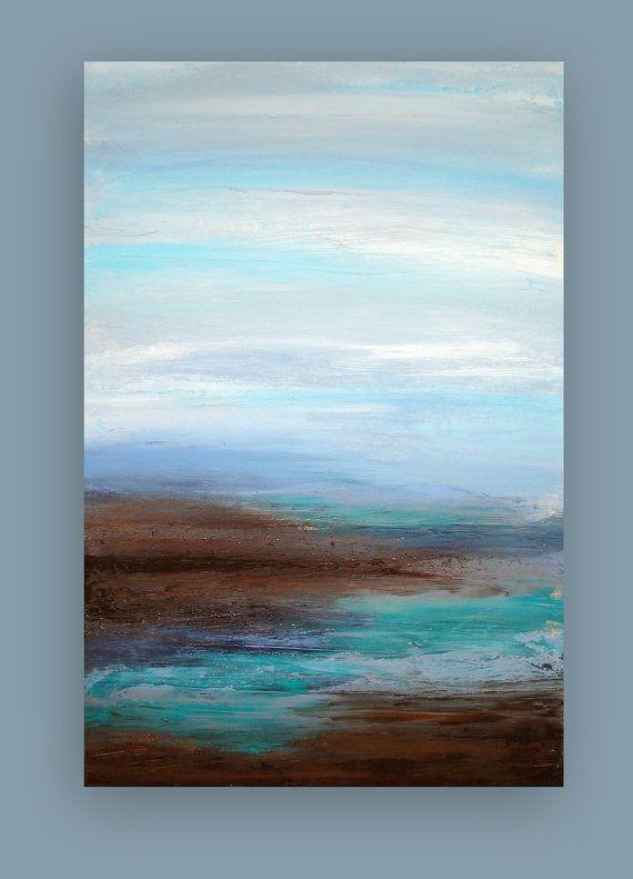 Original Ocean Abstract Acrylic Painting by OraBirenbaumArt
