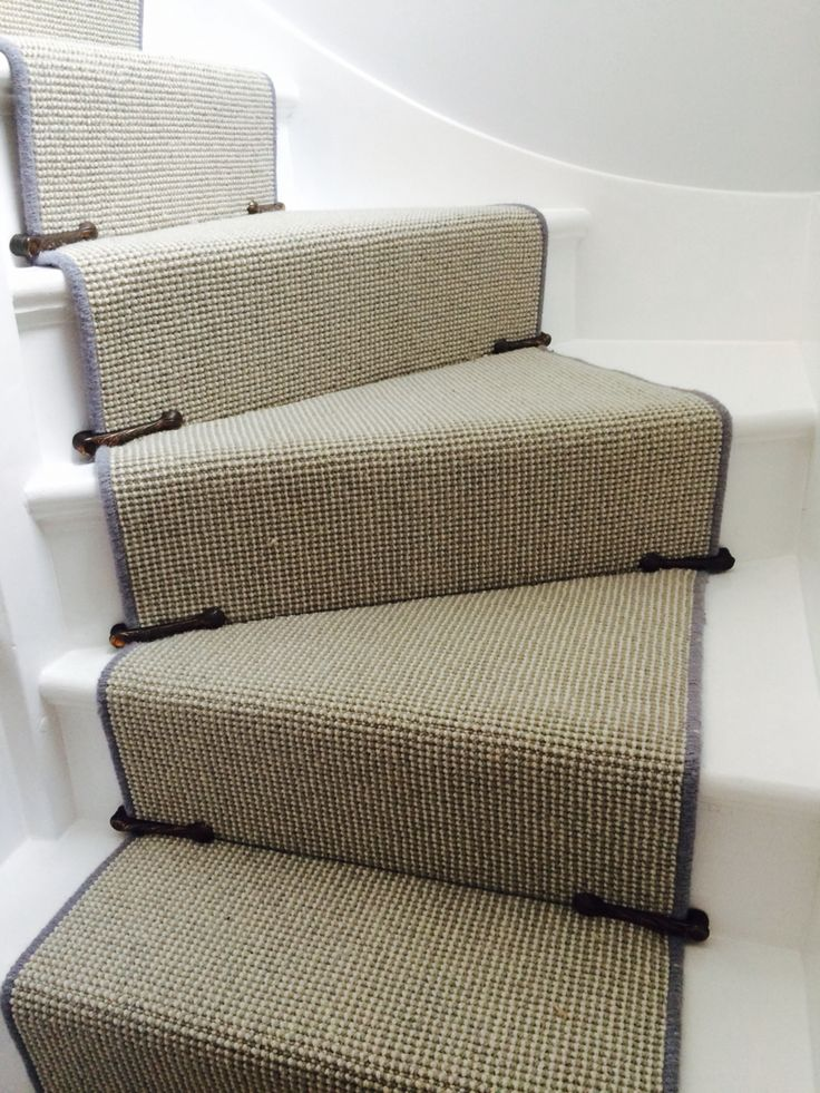 Completed stair runner with original 1930s stair clips
