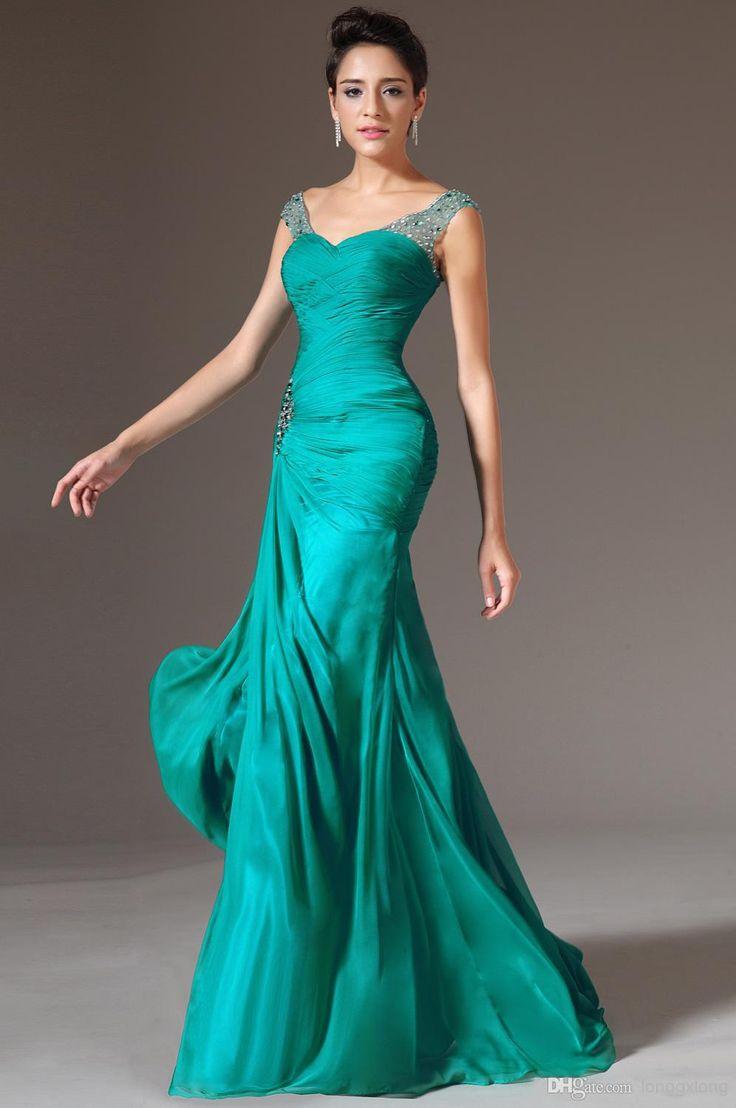 Сексуальная русалка v-образным вырезом длиной до пола , вечерние платья длинные бирюзовые шифон невесты из бисера блестки очаровательная ну вечеринку платье