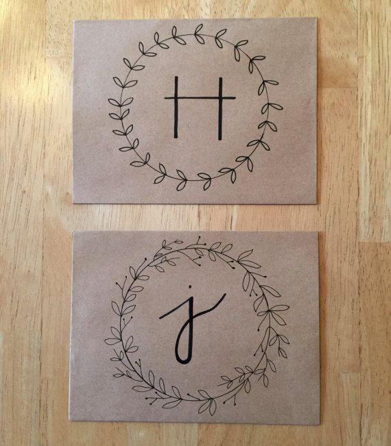 Custom envelope, Initial Envelope, Stationary, Monogrammed Envelope, Premium Paper A2 Envelopes, Hand lettered Envelope