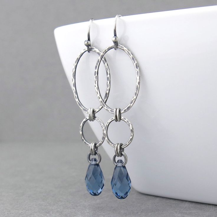 Long Dangle Earrings Silver Drop Earrings Blue Crystal Earrings Geometric Jewelry September Birthstone Jewelry Gift for Her - Adorned Aubrey by JenniferCasady on Etsy https://www.etsy.com/listing/467110703/long-dangle-earrings-silver-drop