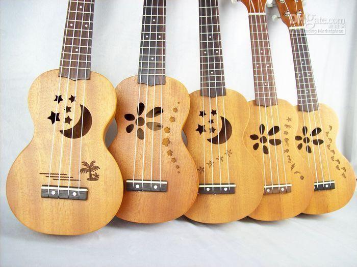 Aloha Soprano Ukulele with Laser Engraving - Stars, moon, flowers #ukulele…