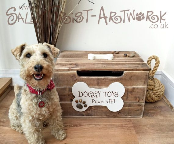 Doggy Toy Box  Handmade unique and totally by SallyGristArtwork