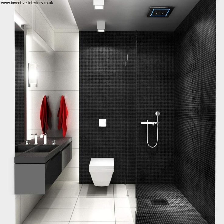 Schöne Badezimmer-Deko-Ideen für schöne kleine Badezimmer mit schwarzem Kachel-Backsplash und einem weißen WC Auch mit schwarzen Laminatschränken und einem silbernen schönen kleinen Bad. Schöne kleine Badezimmer. Schwarzes Badezimmer. www.gorgeoustubs.com