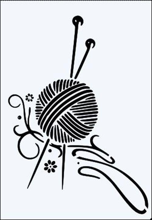 клубок со спицами картинка черно белая контуры, линии поверхности