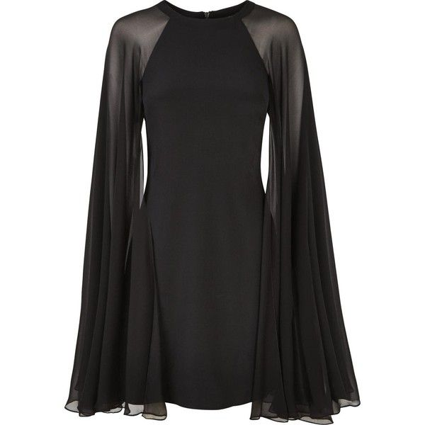 Karl Lagerfeld Silk Dress With Sheer Cape (€250) ❤ liked on Polyvore featuring dresses, black, vestidos, karl lagerfeld, silk cocktail dress, silk dress, sheer dress and karl lagerfeld dresses