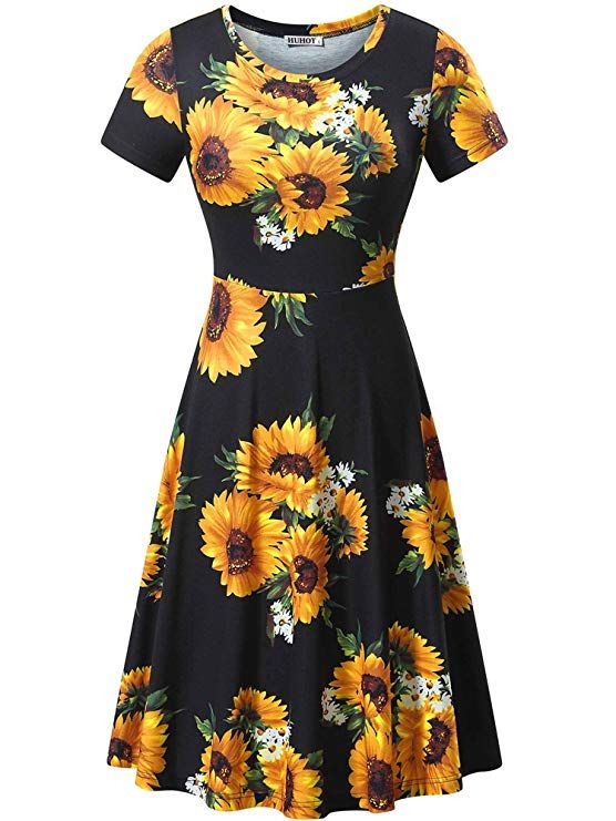 huhot women short sleeve round neck summer casual flared