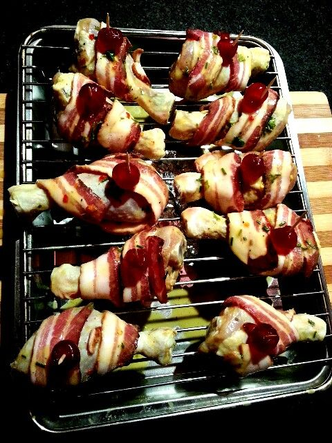 Bacon wrapped chicken - before it was smoked to perfection. No chance to get the after shots though.