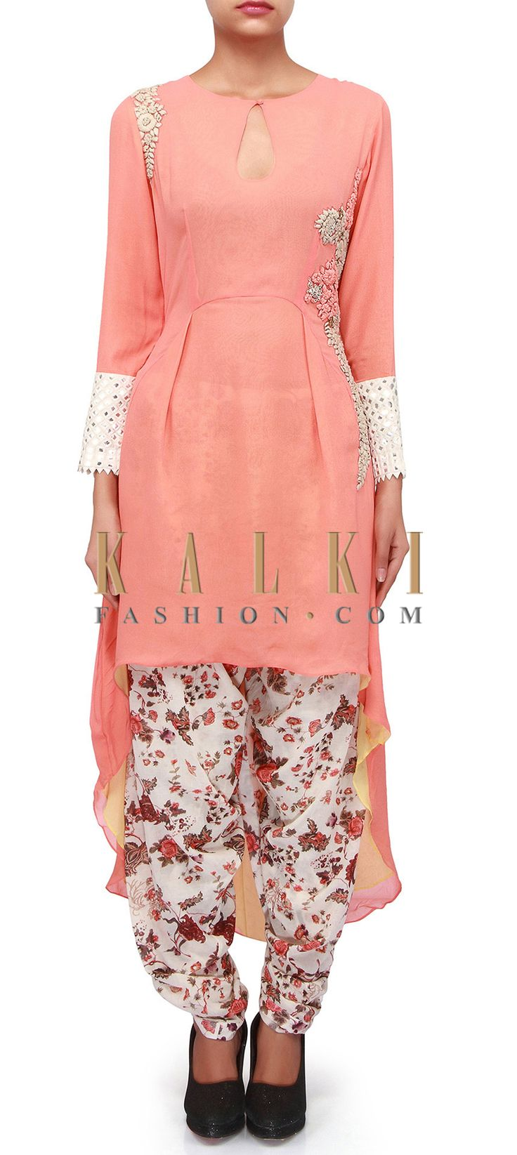 Buy Online from the link below. We ship worldwide (Free Shipping over US$100). Product SKU - 303803. Product Link - http://www.kalkifashion.com/peach-suit-matched-with-dhoti-pants-only-on-kalki.html