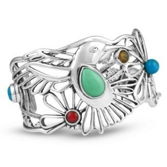 "Southwest Spirit Fritz Casuse Sterling Silver Multi-Gemstone Hummingbird Cuff Bracelet Southwest Spirit. Save 10 Off!. $288.98. Genuine .925 Sterling Silver. Authentic Fritz Casuse Designer Jewelry. Measures 5-3/4"" Inside Circumference x 1-5/8"" W. Lifetime Warranty on Jewelry, Proudly Made in the USA. Natural Gemstones: Turquoise, Variscite, Dyed Coral, Citrine, Lapis"