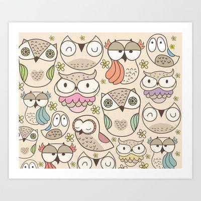 The owling Art Print by Maria Jose Da Luz - $15.00