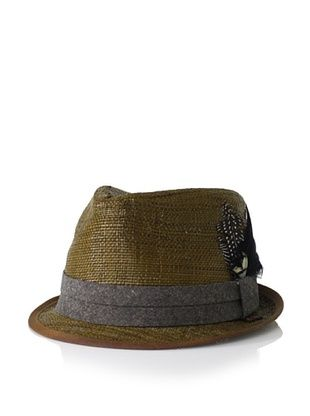 Ben Sherman Men's Solid Straw Trilby (Dark Brown)