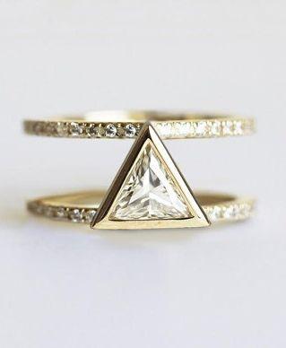 trillion diamond engagement wedding ring