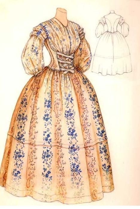 Watercolor of a day dress ca. 1850's, unknown source: Watercolor, 1850 8217 S, Era 1850S 1860S, 1850 S, Victorian 1850S 1860, Day Dresses, 1850 1860, 1850 60S, Circa 1850S