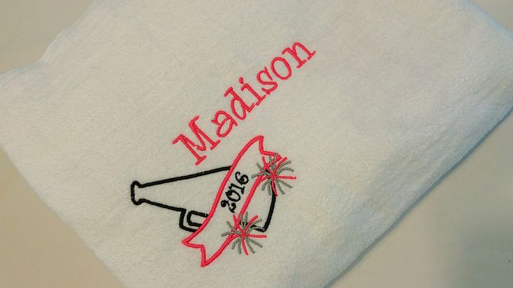 CHEER Personalized BEACH TOWEL ~ Cheer Team Gift / Spirit / Competition Megaphone Pom Pom Cheerleader Camp Drill Team Dance - Choose Colors by thesouthernseahorse on Etsy https://www.etsy.com/listing/472848396/cheer-personalized-beach-towel-cheer
