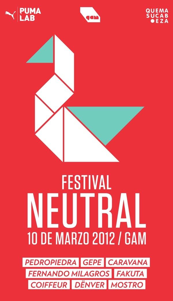 Mañana en el GAM, Pedropiedra, Gepe, Caravana, Fernando Milagros, Fakuta, Coiffeur, Dënver y Mostro darán vida al Festival Neutral organizado por Quemasucabeza http://brev.is/aWc2