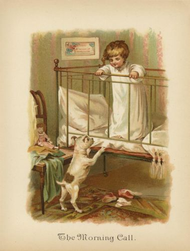 Antique Victorian Baby Girl Crib Doll Jack Russell Terrier