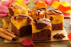 Brownie with pumpkin and chocolate. тыквенно-шоколадные брауни