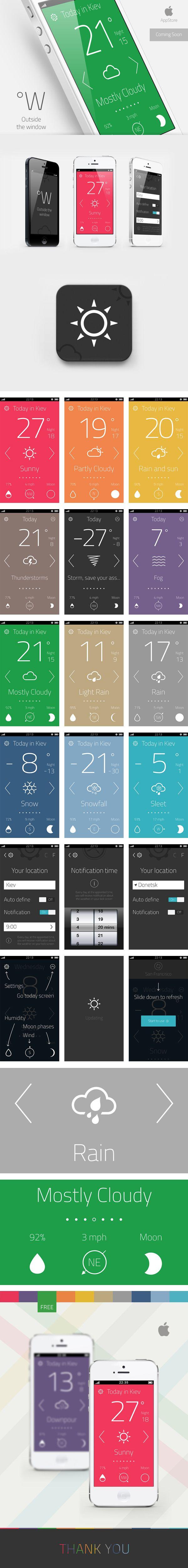 "Weather App ""Outside the window""  Интерфейс © Артем Свительский"