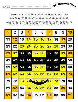 100's Chart Hidden Picture:  Sun