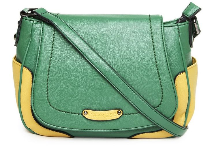 This week's look is infused with a generous dose of Spring colors. The bag in captivating green and yellow is by Caprese. We find Caprese bags youthful and full of color all the time. It's a medium sized sling bag with an adjustable cross-body strap, giving you all the freedom you need with free hands. ...