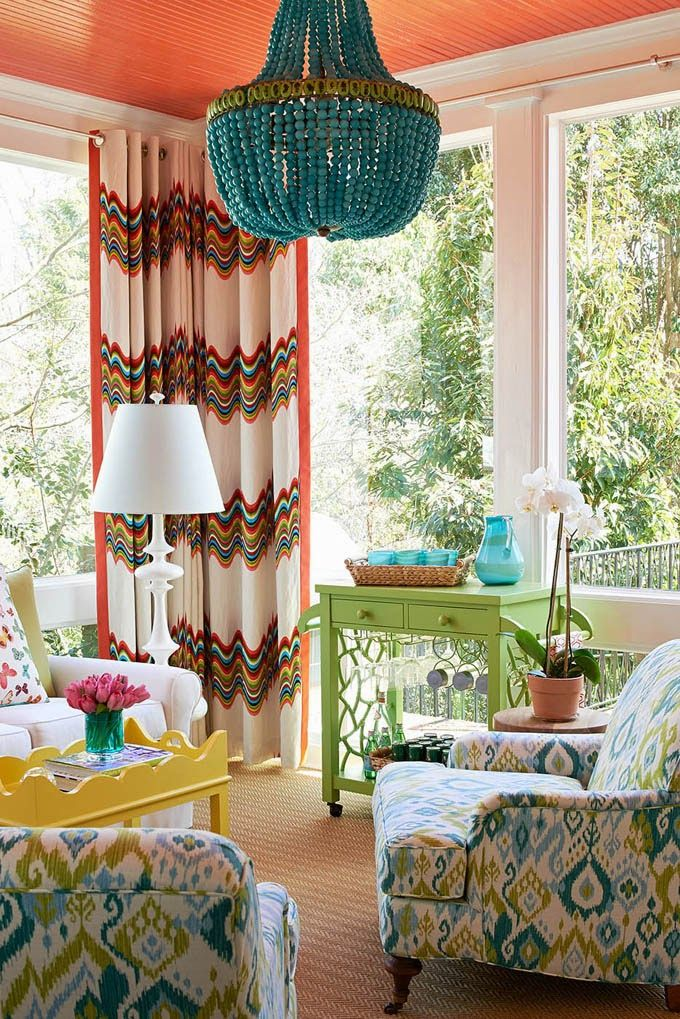 Jonathan Adler For Kravet Distorted Prism Curtains. House Of Turquoise:  Holly Hollingsworth Phillips. Bright Living RoomsEclectic ...