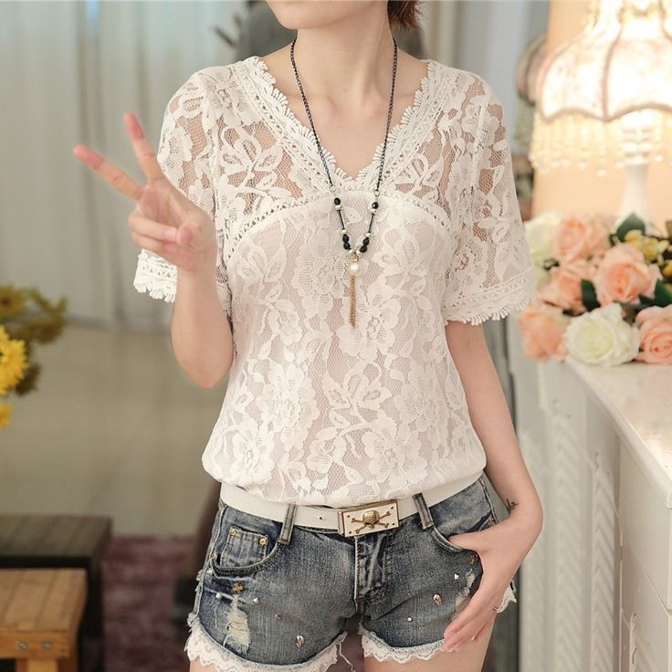 New Women Summer Casual Basic Lace Chiffon Blouse Top Shirt Hollow out short sleeves Embroidery Fashion Plus Size