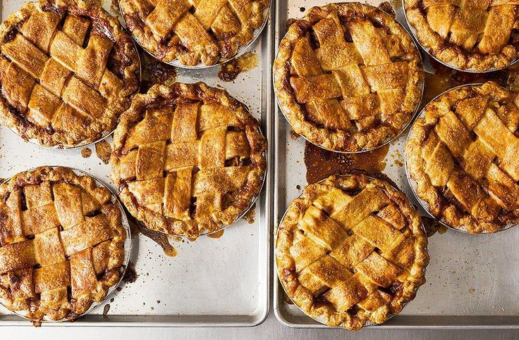 How to Host Your First Thanksgiving with Help from the Pie Pros -- One of our editors gets some tips from the professional pastry chefs and bakers behind 4 & 20 Blackbirds, to make her own salted caramel apple pie using their easy and delicious recipe. Here are baked pies, egg wash brushed lattice crusts, golden brown perfection.Use the salted caramel apple pie recipe and her tips from the pros to bake your own pie this Thanksgiving!
