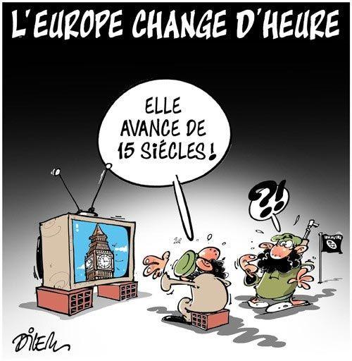 Dilem (2017-03-27) L'Europe change d'heure, Caricature de Dilem du 27-03-2017 | Presse-dz