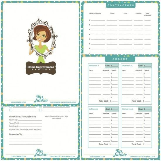 Home Improvement Project Worksheet.  Great idea! Free printable.