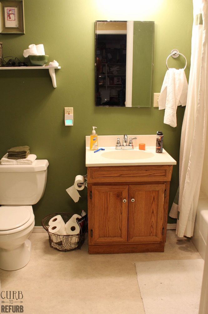 This tiny bathroom was in desperate need of some TLC. I didn't have a ton of money to spend on this space, so I had to get a little creative to find a way to fi…