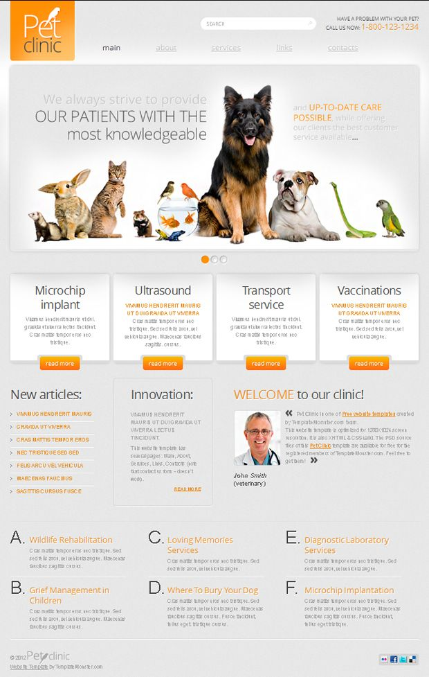 Free Website Template With Jquery Slider For Pet Clinic Free Website Templates Free Html Website Templates Website Design Layout