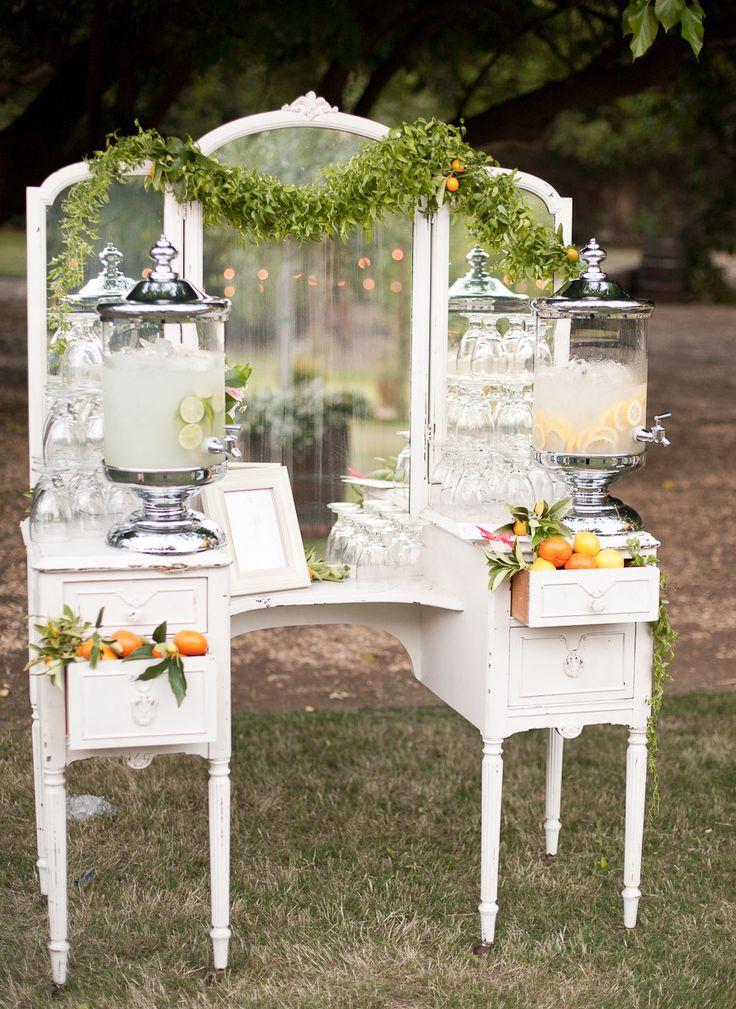 Vintage vanity turned drink station! #wedding   Photography: http://anniemcelwain.com