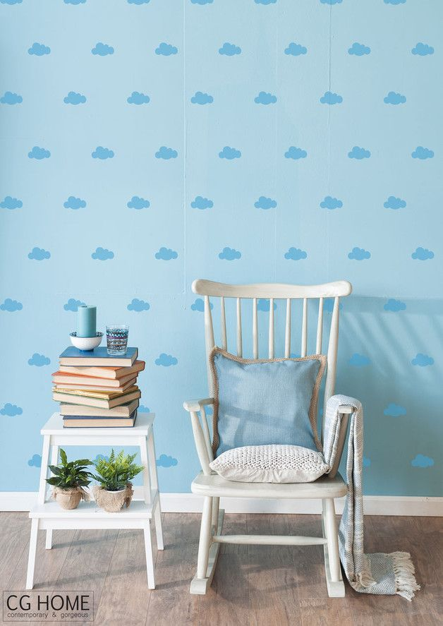 Wandtattoo: kleine Mini-Wolken in Blau fürs Schlafzimmer/ small clouds in blue as a cute wall tattoo for your bedroom made by cghome via DaWanda.com