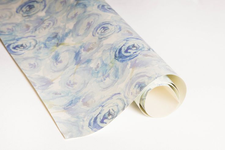 Blue Blossom Gift Wrap 100% recycled Hand-painted, watercolour florals Uncoated and matte sheets #giftwrap #wrappingpaper #craft #paper #watercolour #florals