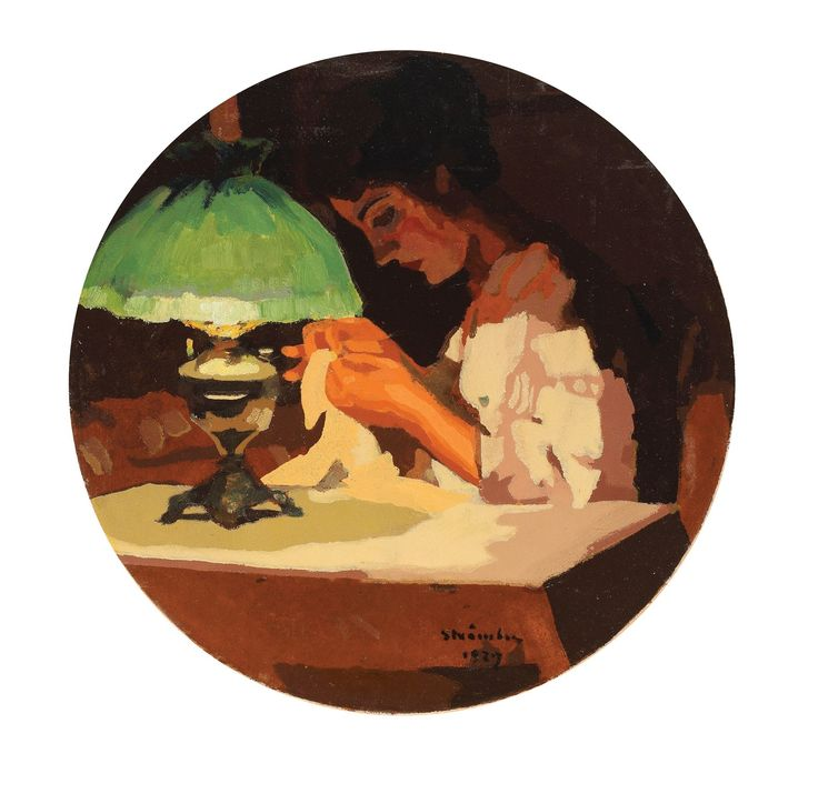 """Ipolit Strâmbu, În lumina lămpii - ulei pe carton, d = 32.5 cm, semnat și datat dreapta jos, cu brun, """"Strâmbu, 1927"""""""
