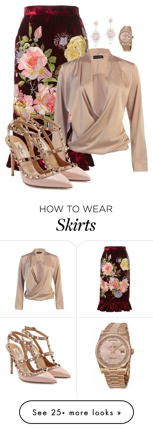 """""""Velvet Skirt"""" by ainedoyle on Polyvore featuring Alice Archer, Valentino, Anne Sisteron and Rolex"""