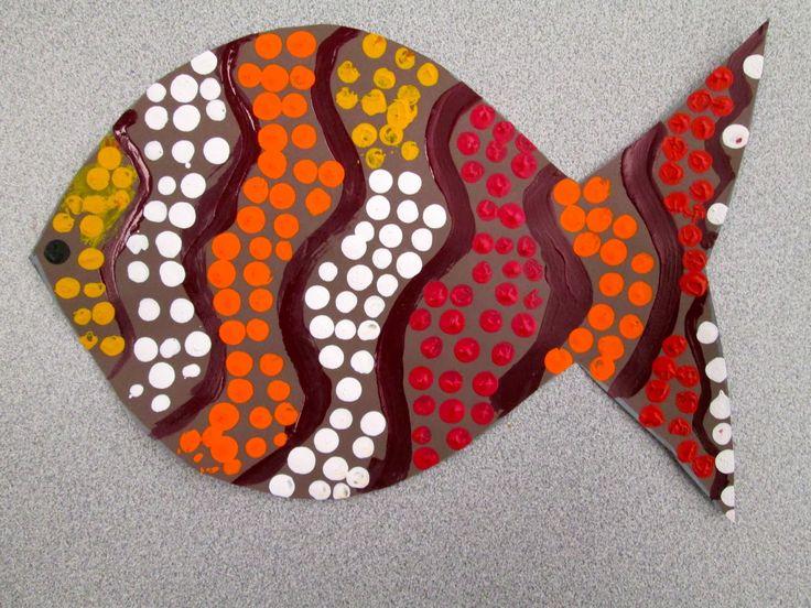 Lower School Art at Kinkaid: International Fair: Aboriginal Dot Painted Fish of Australia by PK-4th Grade
