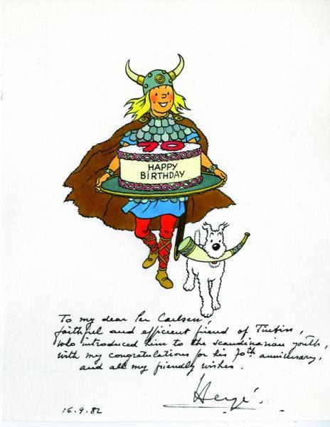 """Hergé / dessin original - Tintin viking : Encre de Chine et aquarelle avec un[...], mis en vente lors de la vente """"L'Univers d'Hergé"""" à Millon et Associés Bruxelles   Auction.fr"""
