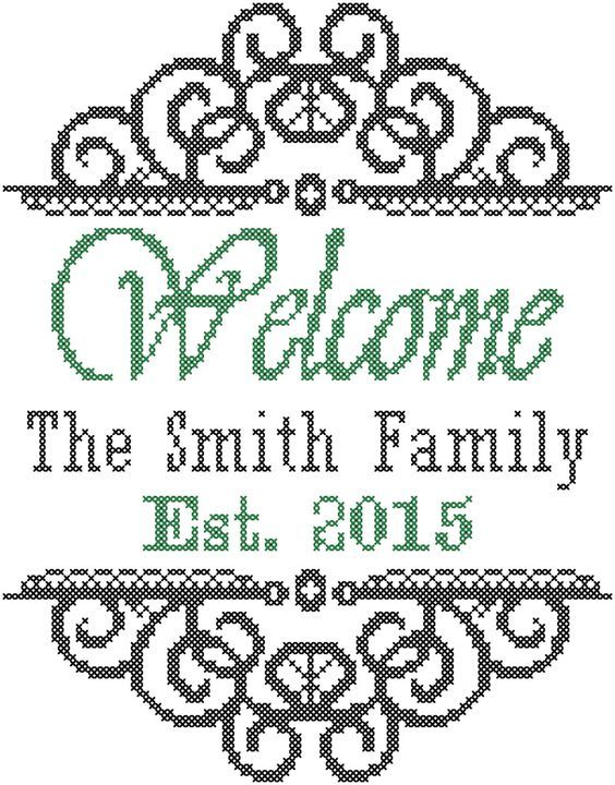 A personal favorite from my Etsy shop https://www.etsy.com/listing/217701755/modern-cross-stitch-welcome-family-name: