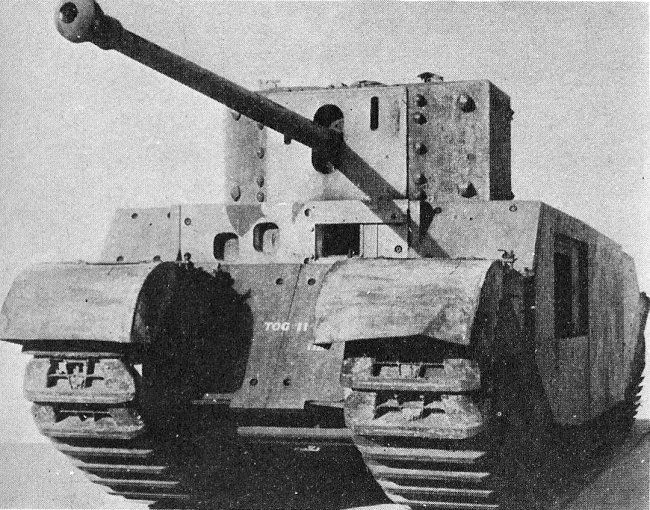 The Tank, Heavy, TOG II was a prototype British tank design produced in the early part of the Second World War in case the battlefields of northern France turned into a morass of mud, trenches and craters as had happened during the First World War. When this did not happen the tank was not needed and the project terminated.  A development of the TOG 1 design, only a single prototype was built before the project was dropped.